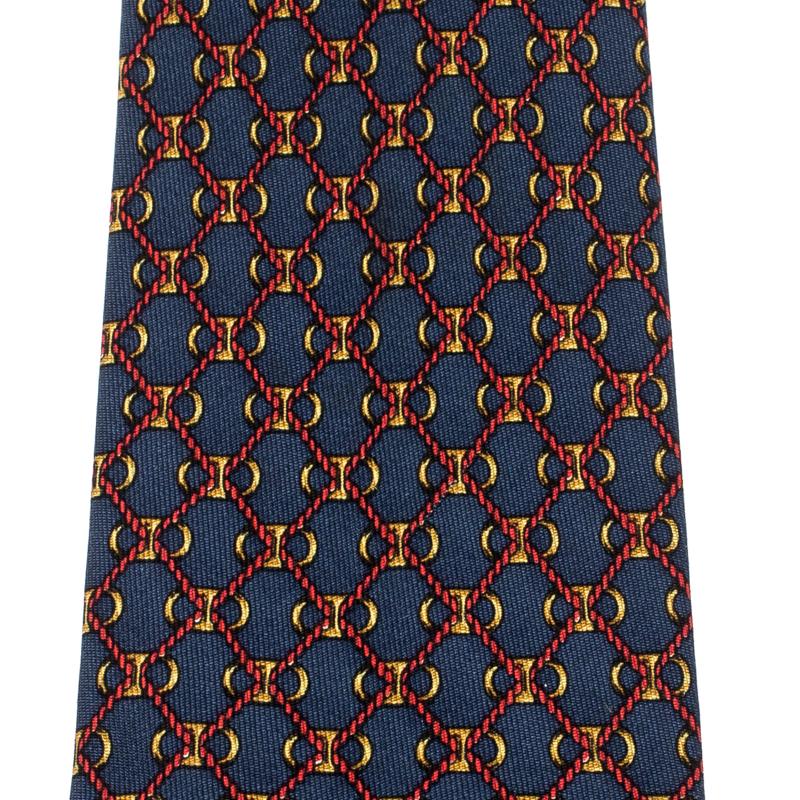 Hermes Navy Blue Red Rope Geometric Print Silk Tie