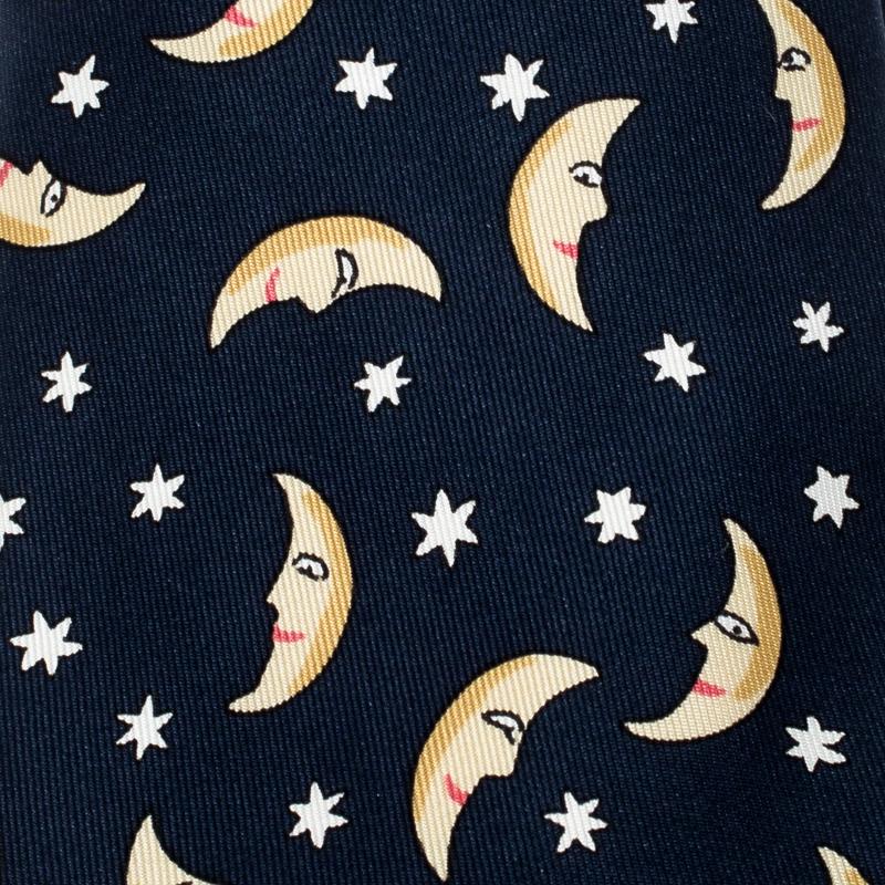 Hermes Navy Blue Half Moon Print Silk Twill Tie