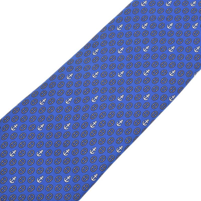 Hermes Navy Blue Silk Tie