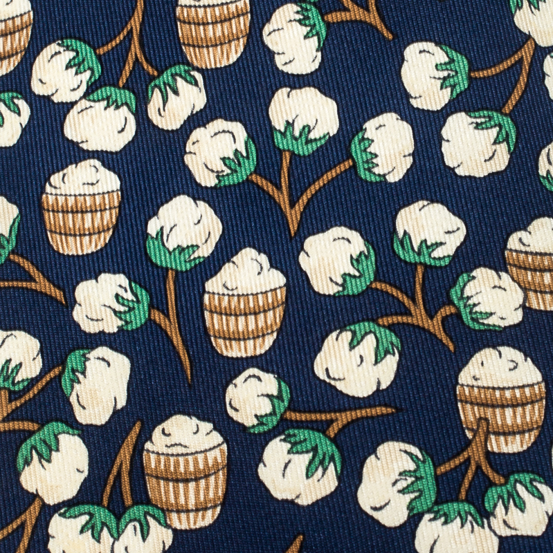 Hermes Navy Blue Floral Barrel Print Silk Classic Tie