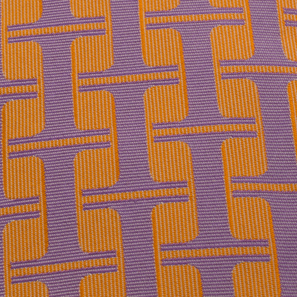 Hermes Orange & Purple H Patterned Jacquard Traditional Silk Tie