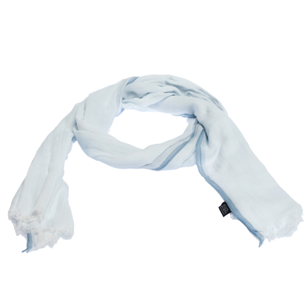Hermes Pale Blue Herringbone Cotton Scarf