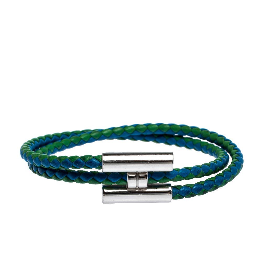 Hermès Tournis Tressé Bicolor Leather Palladium Plated Bracelet
