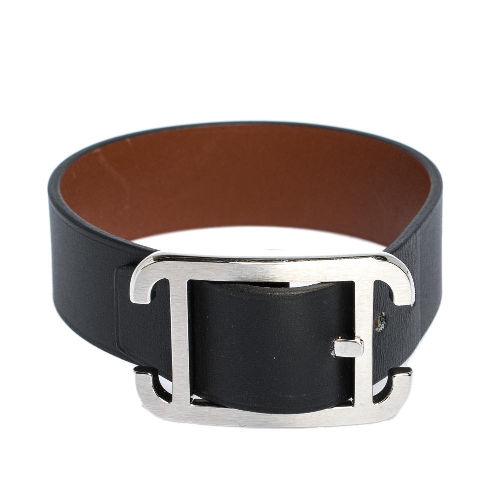 Hermes Black & Brown Leather Palladium Plated Society Bracelet T5