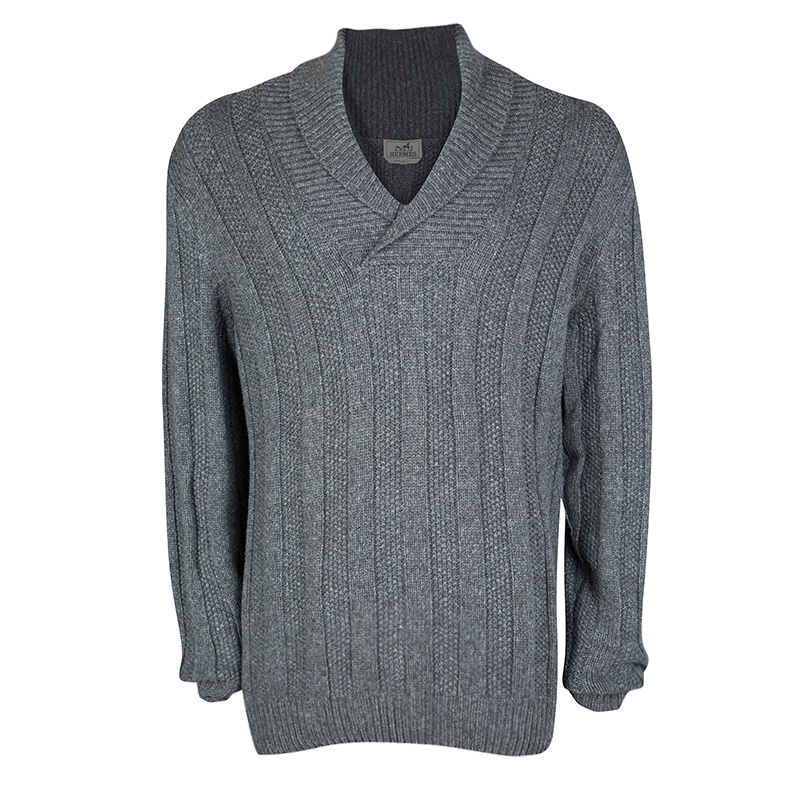 b26b5bf9d0a0 Buy Hermes Grey Cashmere Chunky Knit Shawl Collar Detail Sweater 3XL ...