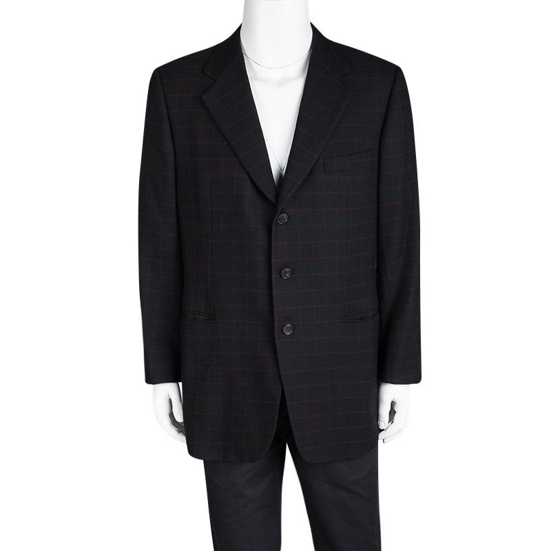 Hermes Navy Blue Wool Cashmere Checked Blazer