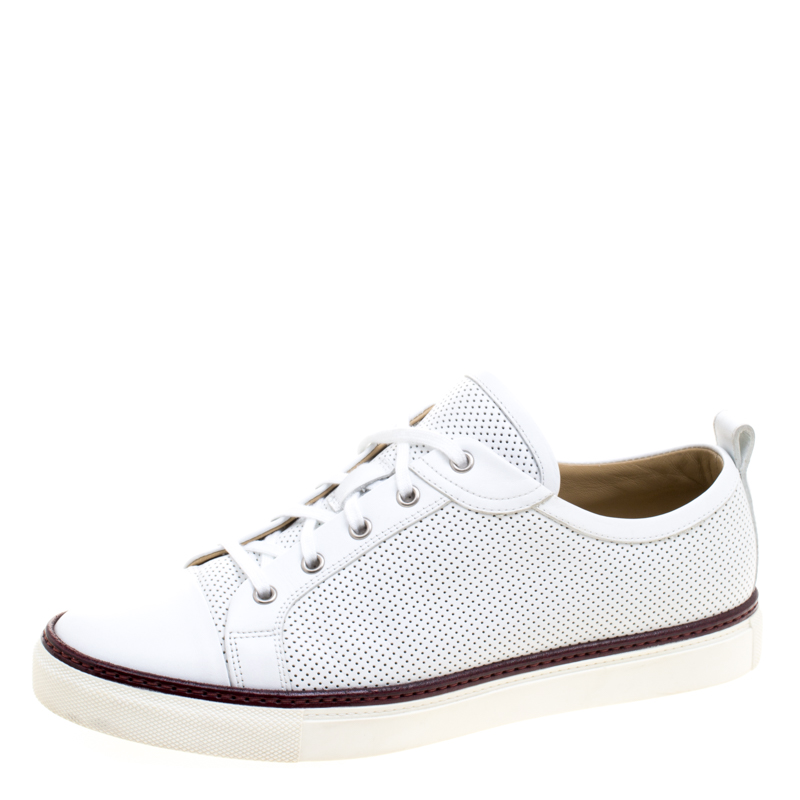 Hermes White Perforated Leather Inside Lace Up Sneakers Size 42.5