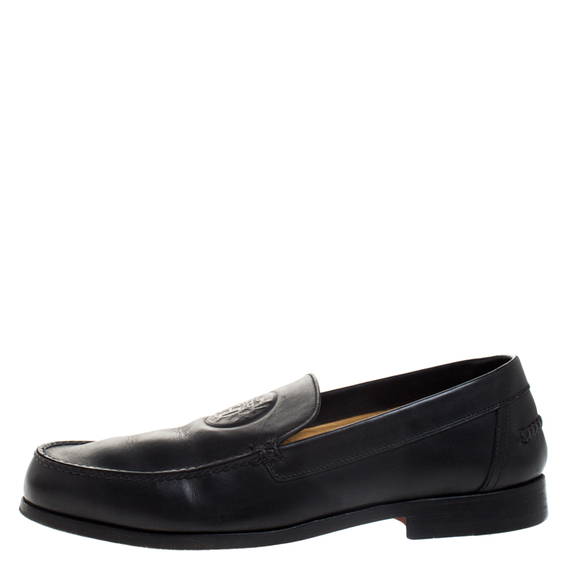 Hermes Black Logo Embossed Leather Slip On Loafers Size 41  - buy with discount