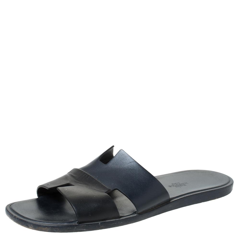 Hermes Black Leather Izmir Slide Sandals Size 44