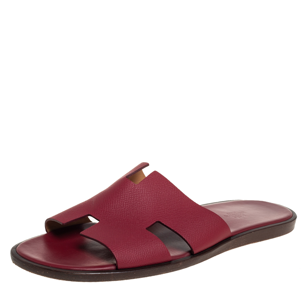 Pre-owned Hermes Red Leather Izmir Slide Sandals Size 45