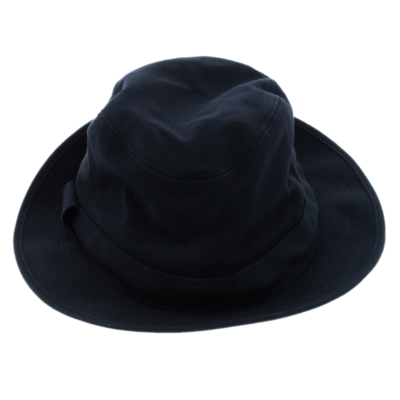 Hermes Navy Blue Cotton H Embroidered Funky Fedora Hat ( Size