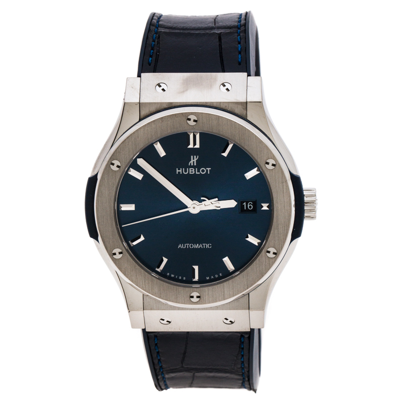 Hublot Blue Titanium Classic Fusion 542.NX.7170.LR Men's Wristwatch 41 mm