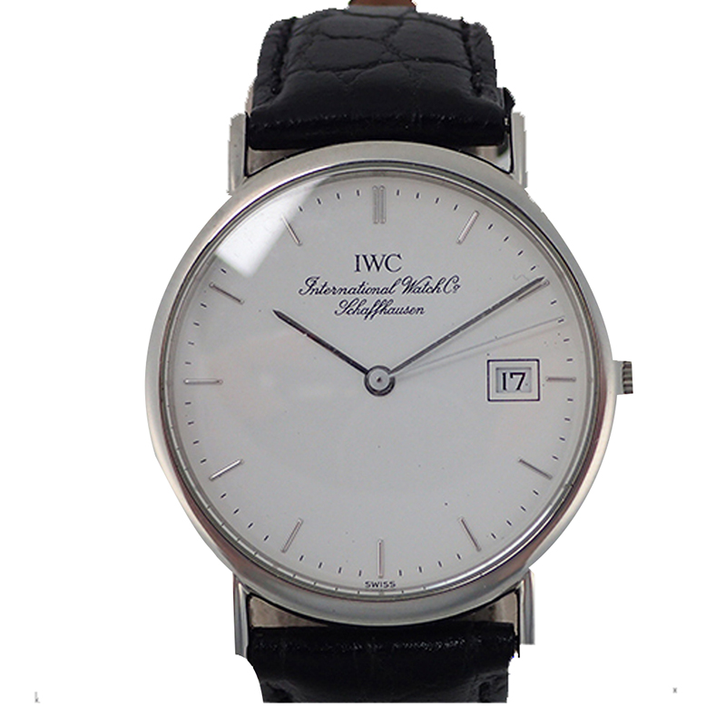 IWC White Stainless Steel and Leather Portofino 3331 Men's Wristwatch 33MM