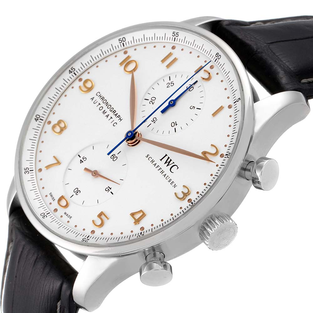 IWC Silver Stainless Steel Portuguese Chronograph Automatic IW371604 Men's Wristwatch 41 MM  - buy with discount