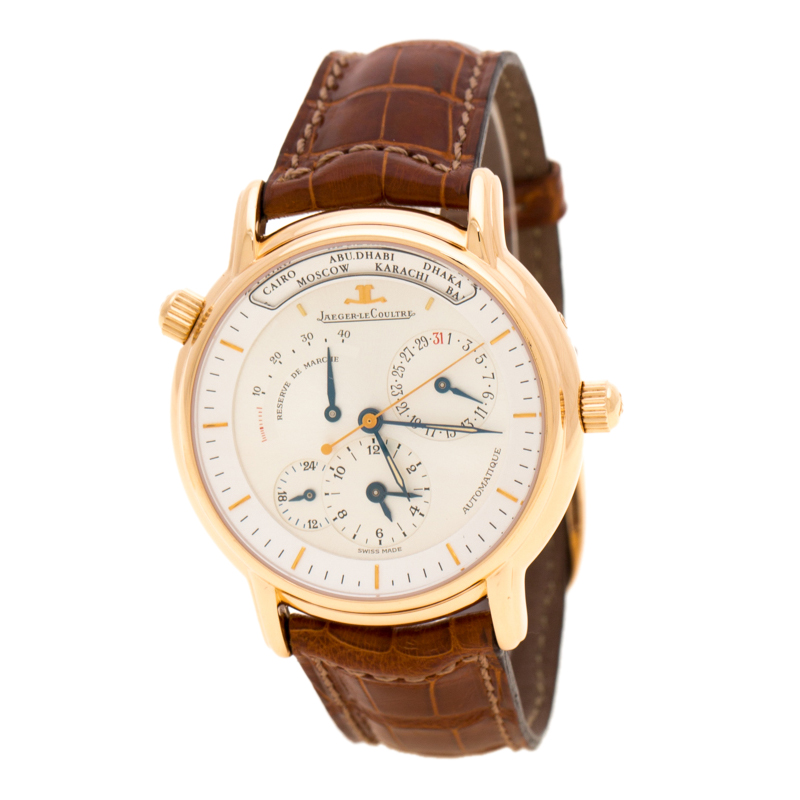 Jaeger LeCoultre Silver White 18K Rose Gold Master Geographique 169.2.92 Men's Wristwatch 38 mm