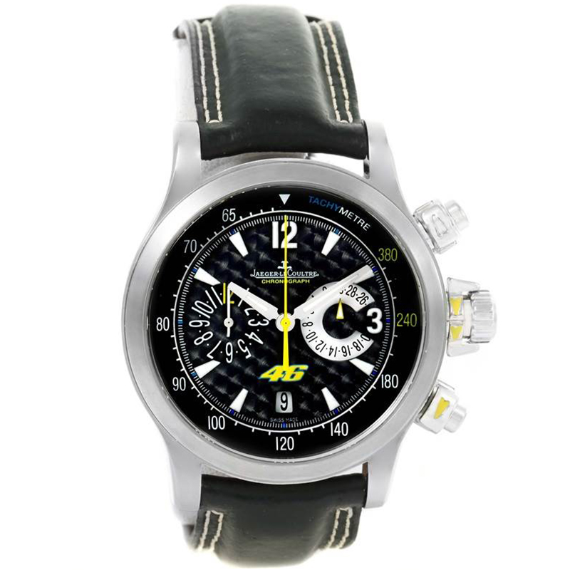 Jaeger Lecoultre Black Stainless Steel Master Compressor Valentino Rossi 146.8.25 Men's Wriswatch 41.5MM