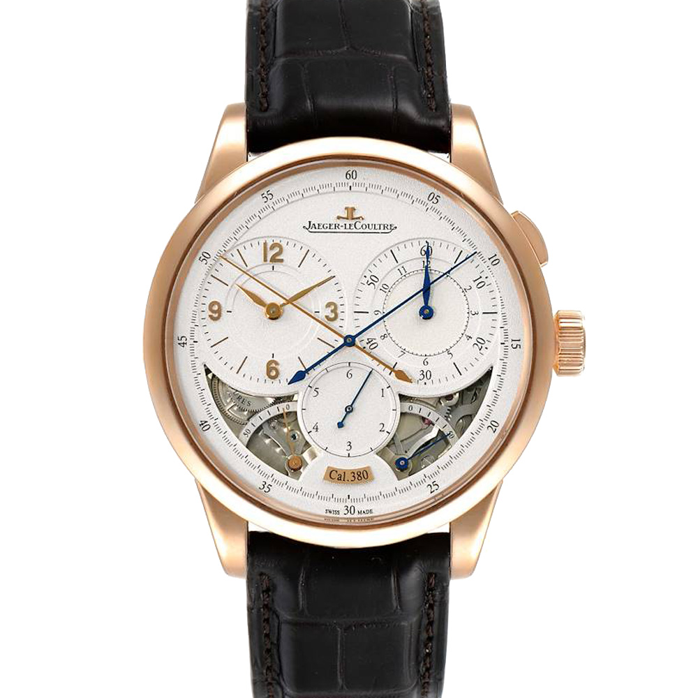 Pre-owned Jaeger-lecoultre Jaeger Lecoultre Silver 18k Rose Gold Duometre Q6012521 Men's Wristwatch 42 Mm