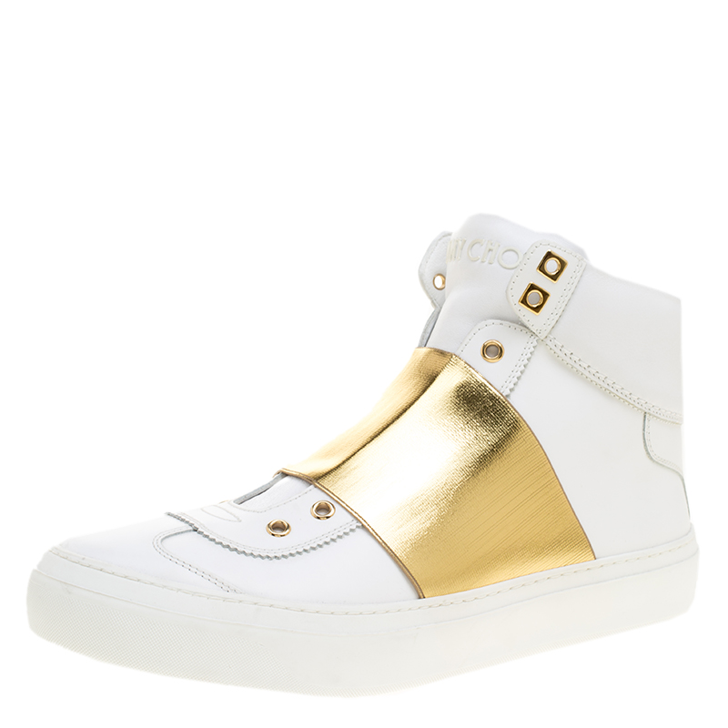 1c854d72d2b26 Buy Jimmy Choo White Leather Archie Laceless High Top Sneakers Size ...