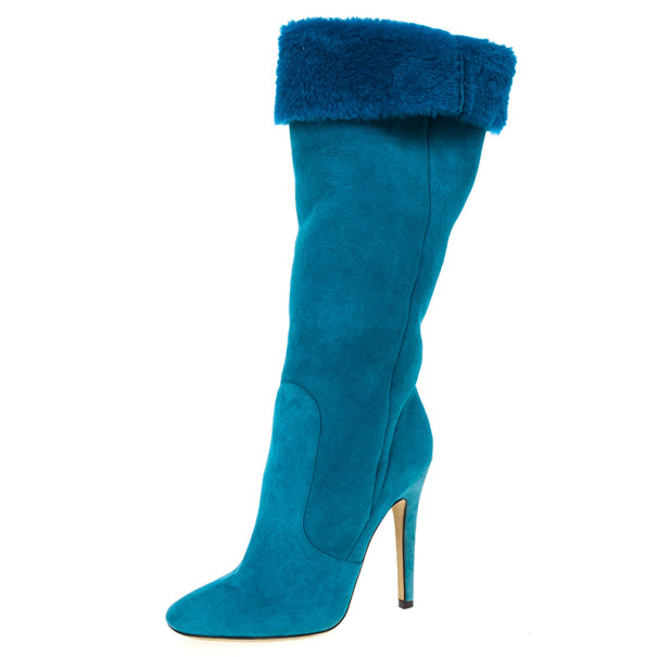 b7d45ab63bd Buy Jimmy Choo Blue Suede & Fur Tattoo Pull On Boots Size 36 ...