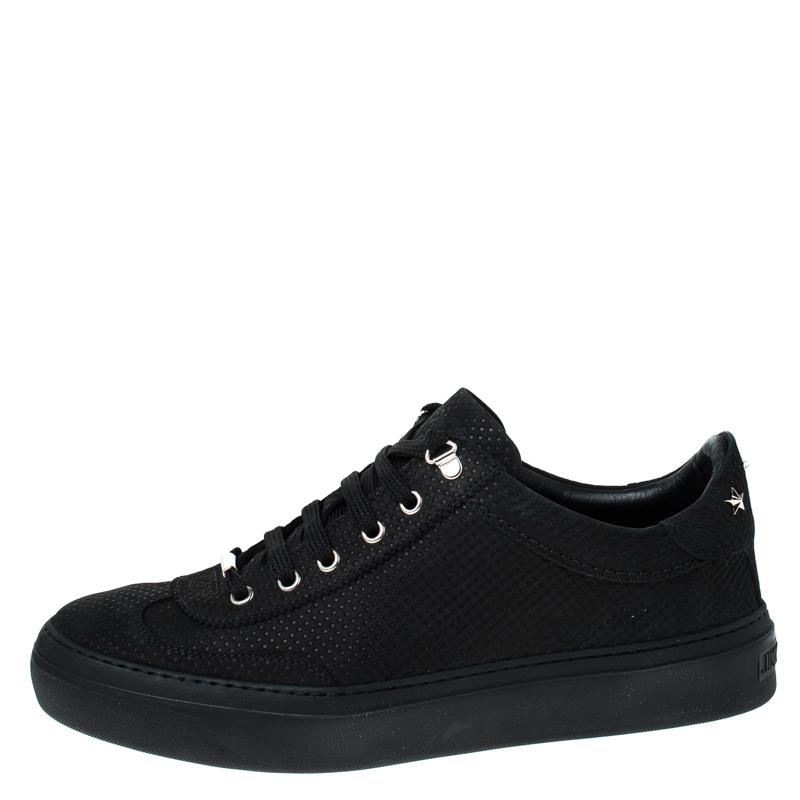 Jimmy Choo Noir Cuir Nubuck As Low Top Sneakers Taille 42.5