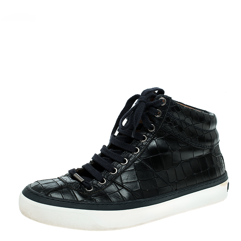 40ca2e8bfd4 ... Jimmy Choo Black Crocodile Embossed Leather Belgravia High Top Sneakers  Size 40. nextprev. prevnext
