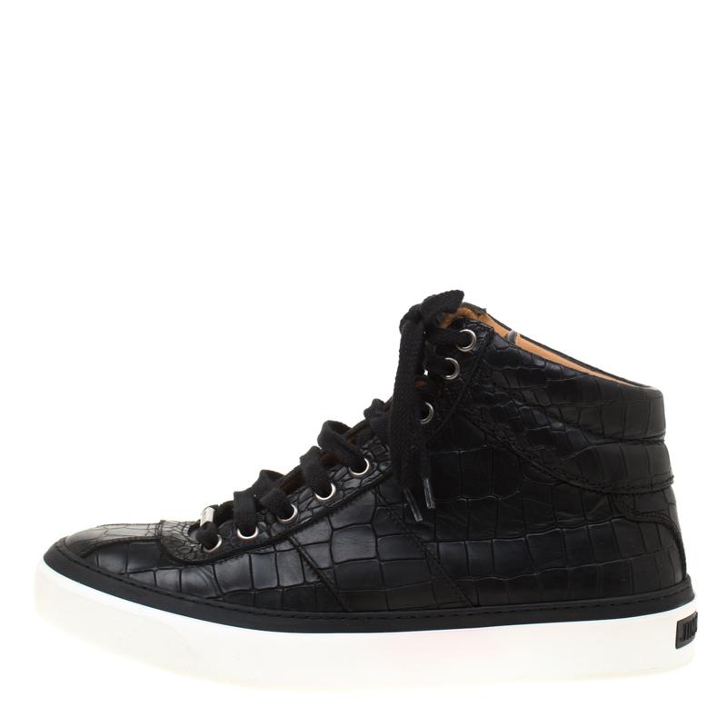 Jimmy Choo Noir Croc Embossed Leather High Top Sneakers Taille 40.5