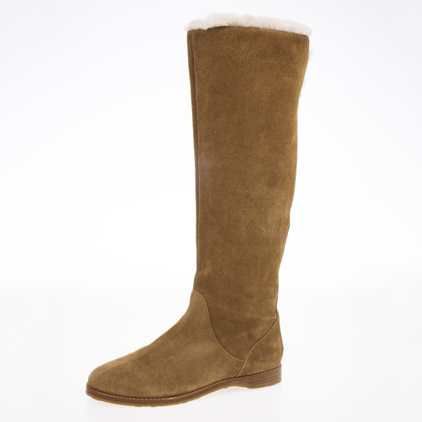 buy jimmy choo brown suede yazz knee length fur lined boots size 38 rh theluxurycloset com