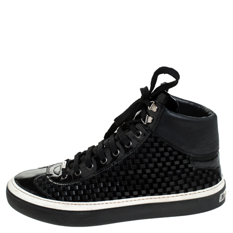 Jimmy Choo Noir Cuir Tressé Argyle High Top Sneakers Taille 42