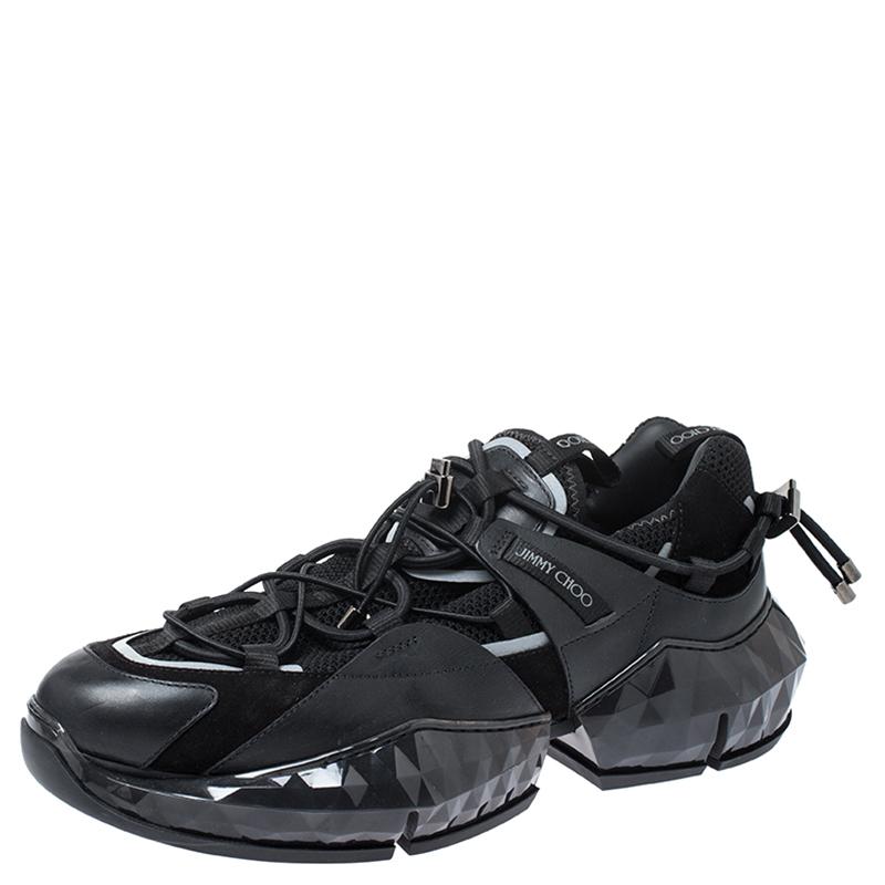 Jimmy Choo Black Leather, Mesh and
