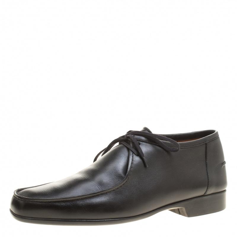 J.M.Weston Black Leather Lace Up Derby Size 42.5