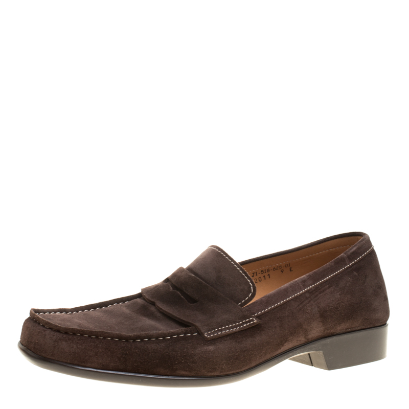 133775aa0145 Buy J.M.Weston Brown Suede Penny Loafers Size 43 146114 at best ...