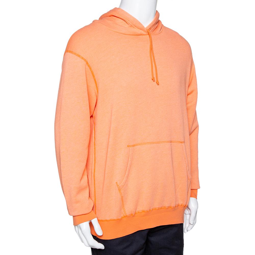 John Elliott Orange Vintage Fleece Lightweight Hoodie L  - buy with discount