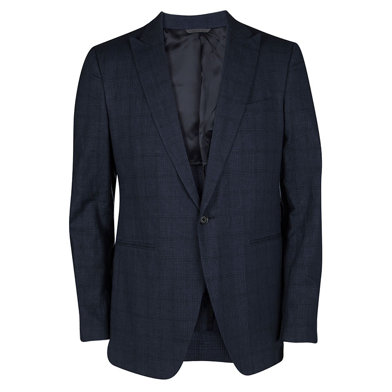 John Varvatos Navy Blue Glen Plaid Wool Linen Regular Fit Austin Blazer L