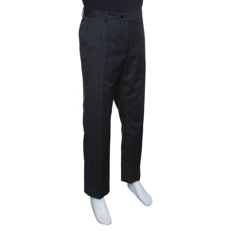 Купить со скидкой John Varvatos Grey Checkered Wool Trousers XL
