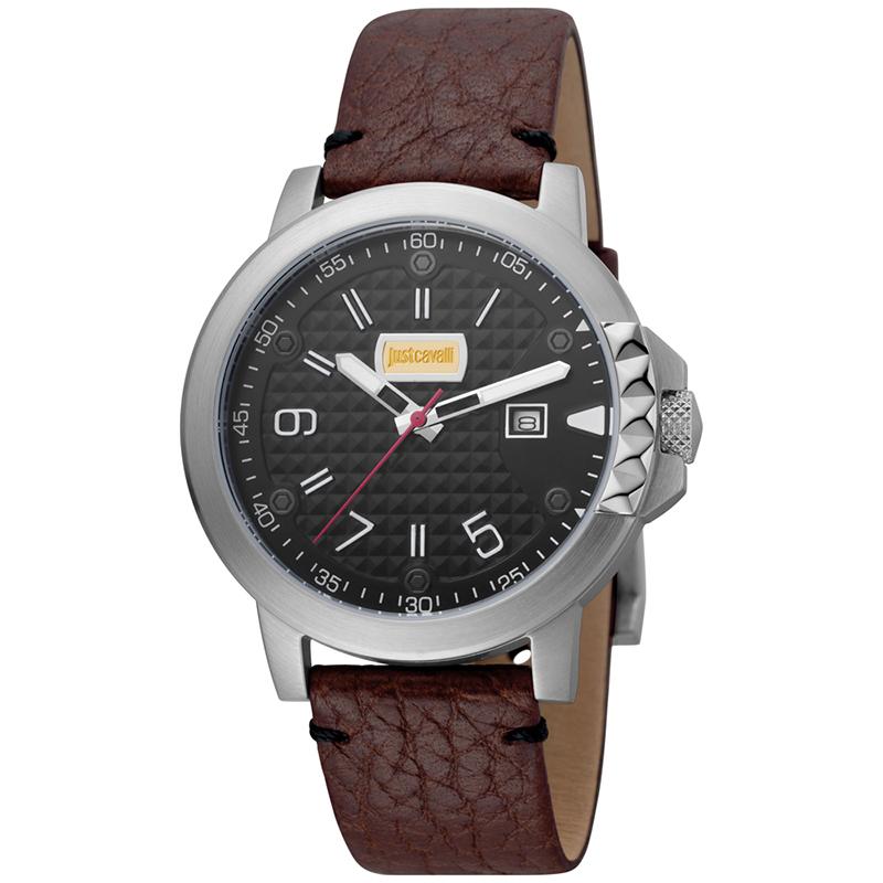 Just Cavalli Noir en Acier Inoxydable Rock JC1G016L0025 des Hommes montre-Bracelet 42MM