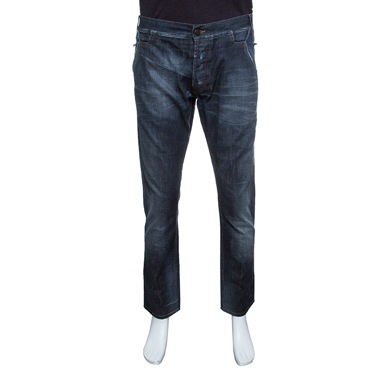 Купить со скидкой Just Cavalli Indigo Dark Wash Faded Effect Distressed Denim Jeans XXL