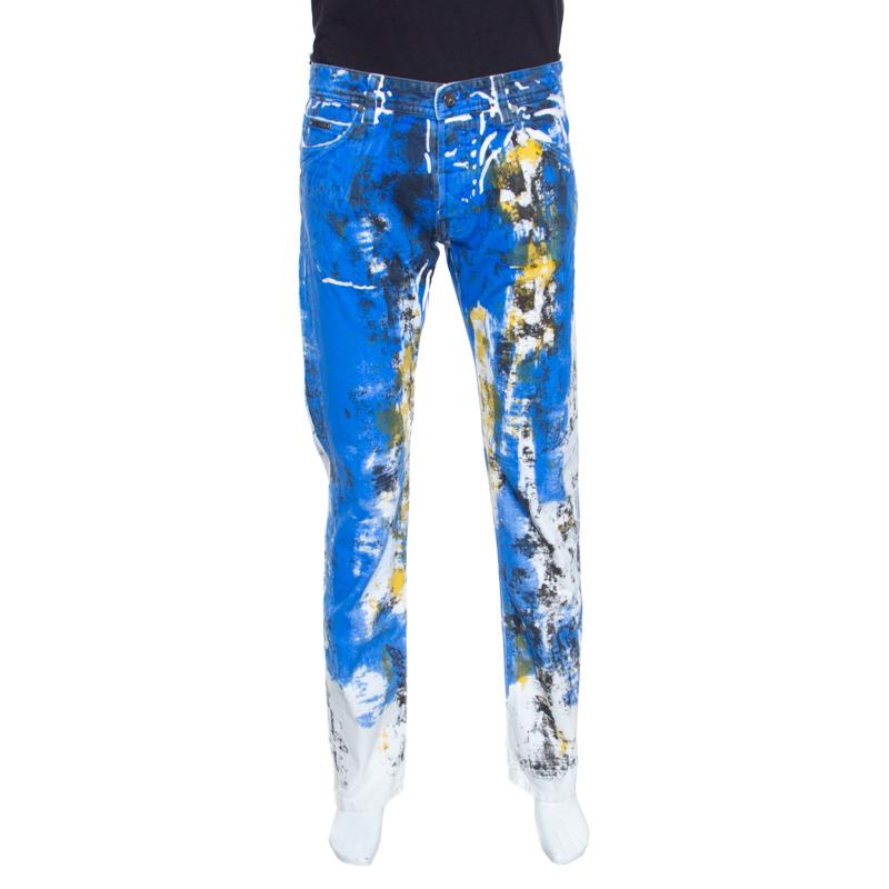 Купить со скидкой Just Cavalli Multicolor Paint Splatter Printed Denim Straight Leg Jeans L