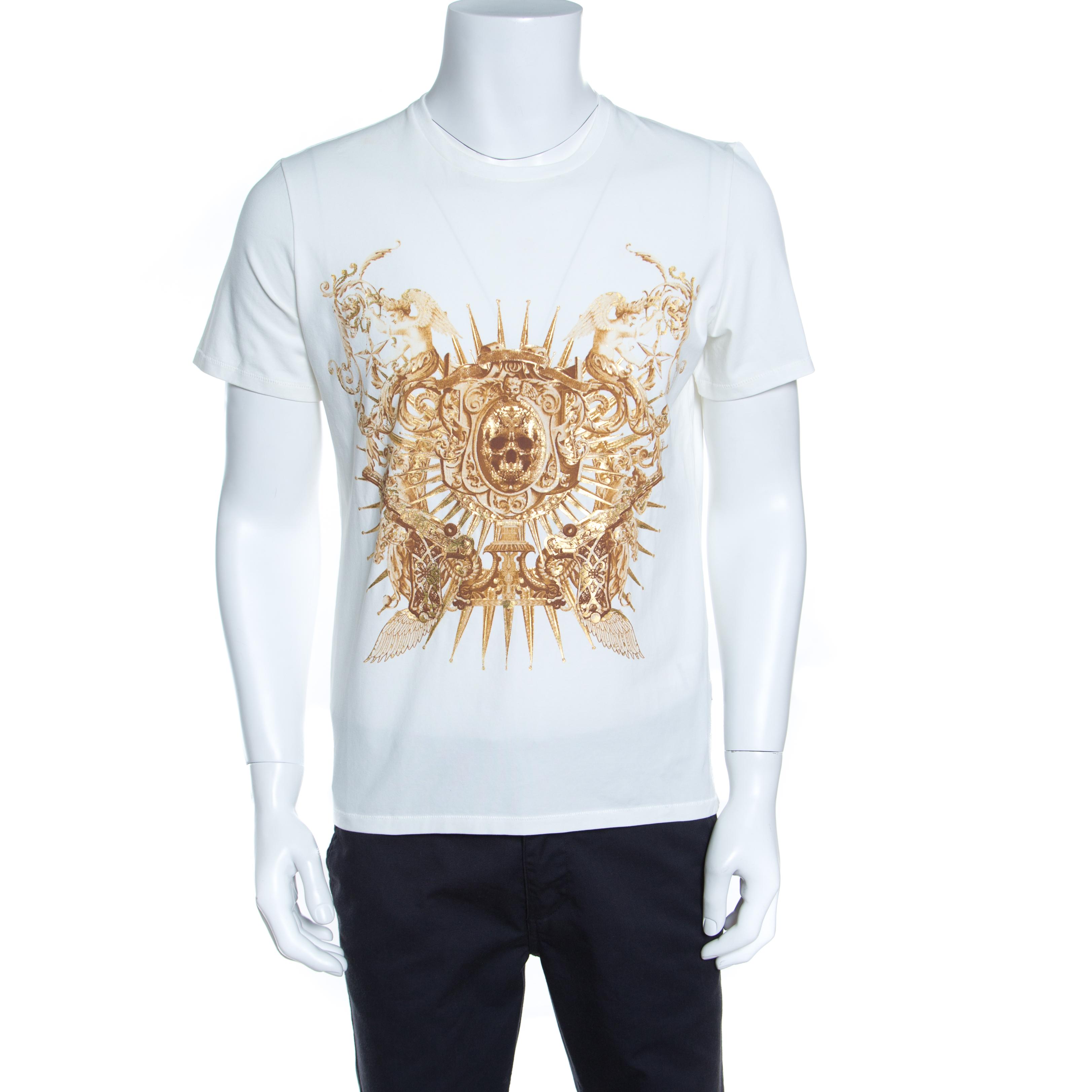 9db04fb8e559a ... Just Cavalli White Metallic Skull Print Short Sleeve T-Shirt XL.  nextprev. prevnext