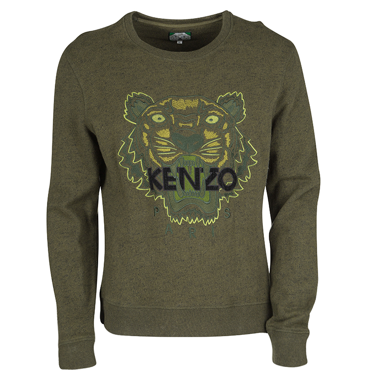 03eefd160 Buy Kenzo Jungle Olive Green Tiger Motif Embroidered Sweatshirt XL ...