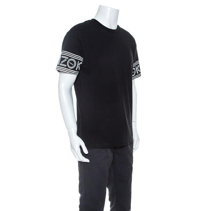 Kenzo Noir Logo Imprimé En Coton À Manches Courtes T-Shirt L