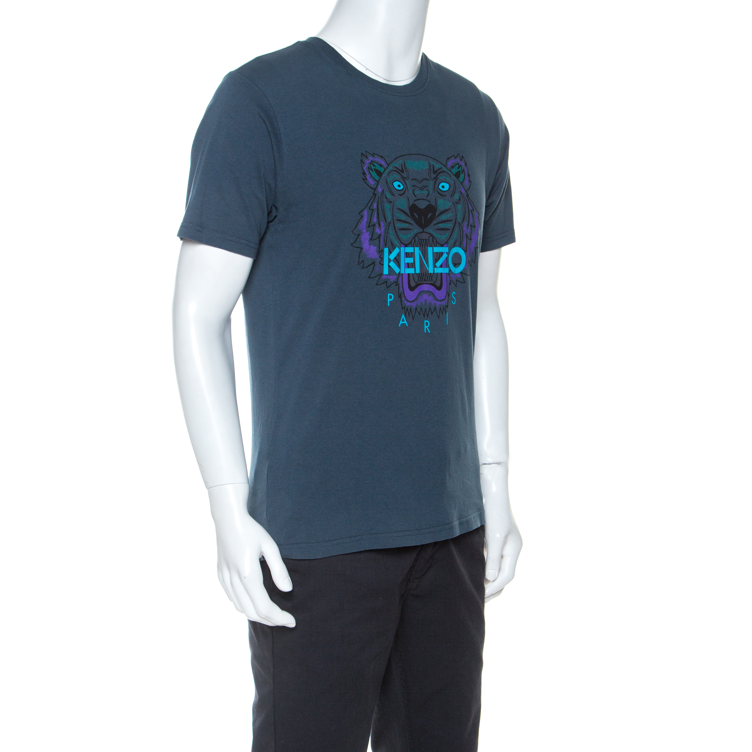 Kenzo Vert Coton Motif De Tigre D'Impression T-Shirt M