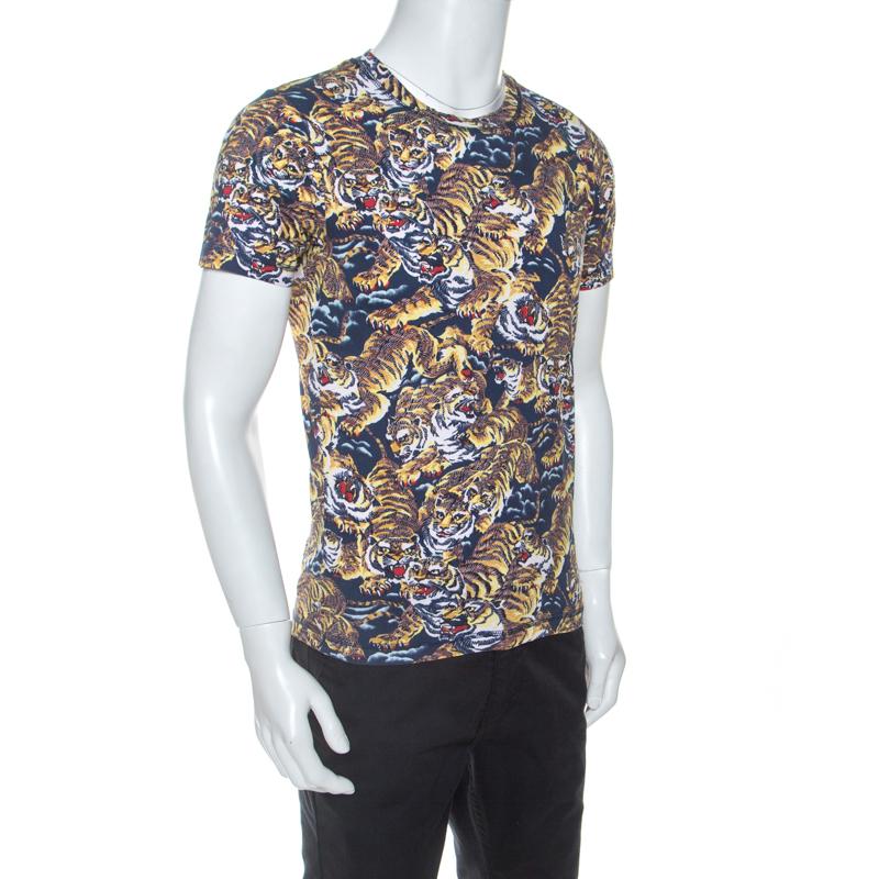 Kenzo Multicolore Flying Tiger Imprimer Coton Crew Neck T-Shirt S