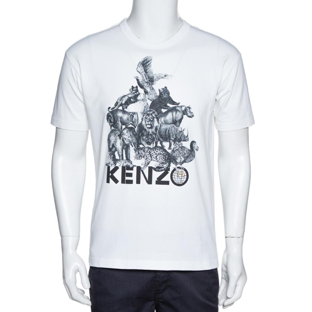 Pre-owned Kenzo La Memento Collection White Cotton Animal Print T-shirt S