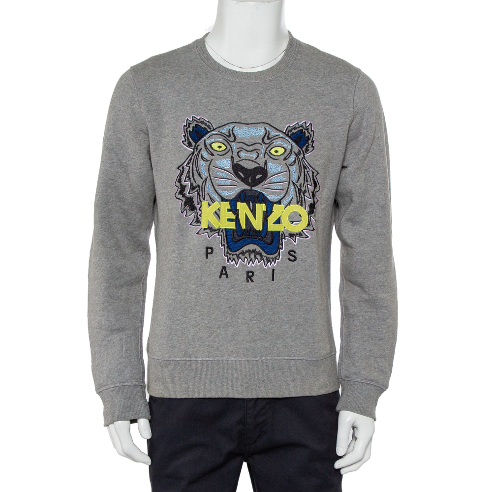 Pre-owned Kenzo Grey Cotton Tiger Embroidered Crewneck Sweatshirt L