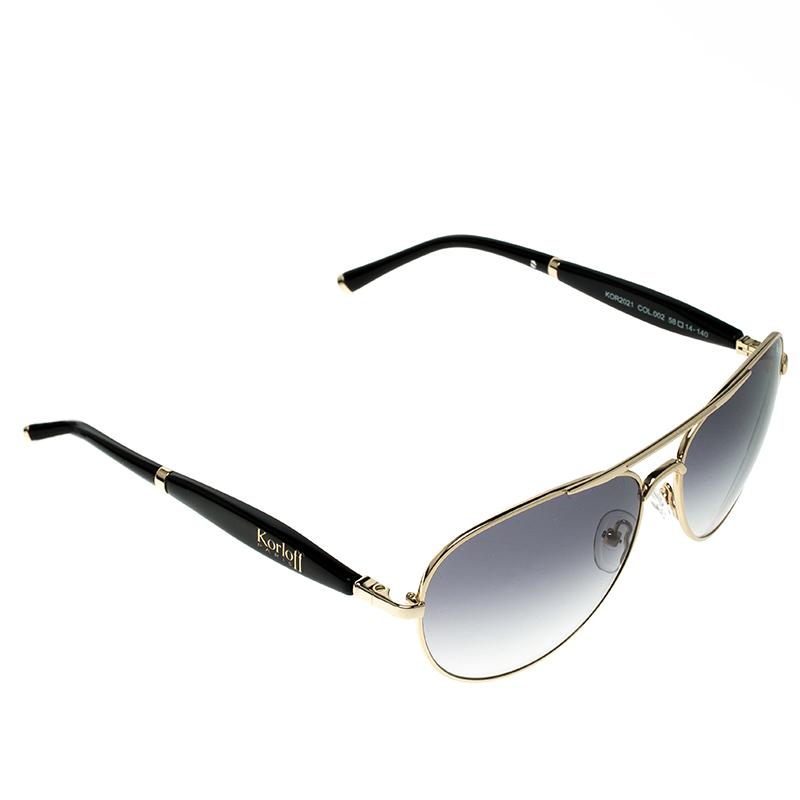 Korloff Gold/Black Gradient KOR2021 AViator Sunglasses