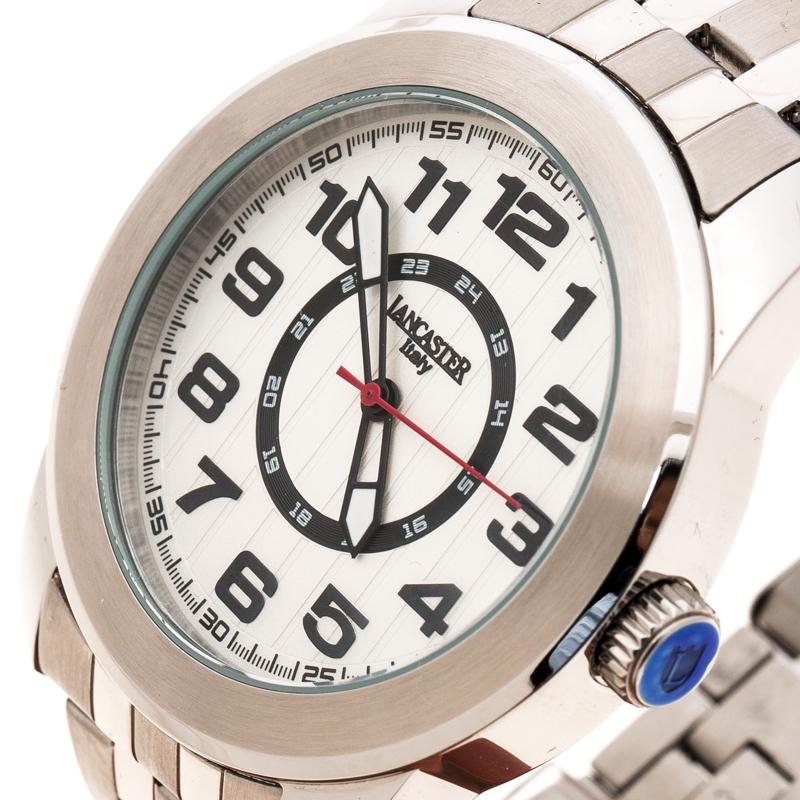 Lancaster Blanc Argenté en Acier Inoxydable NPU Sportif des Hommes de montre-Bracelet de 44 mm