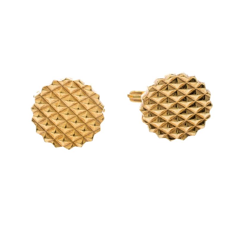Lanvin Textured Gold Tone Round Cufflinks