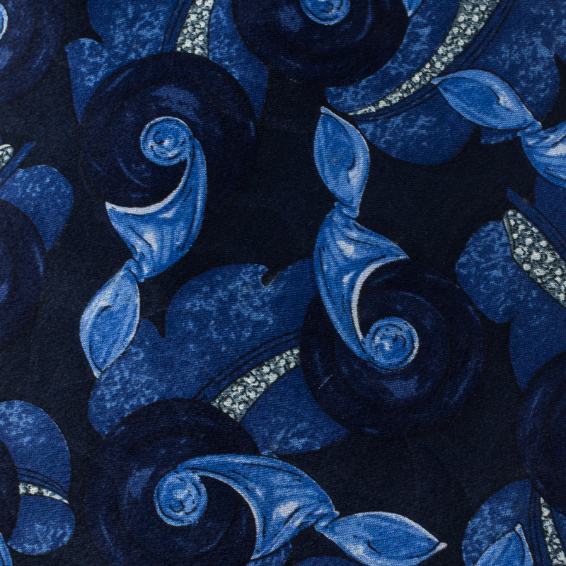 Lanvin Blue Floral Printed Traditional Silk Tie