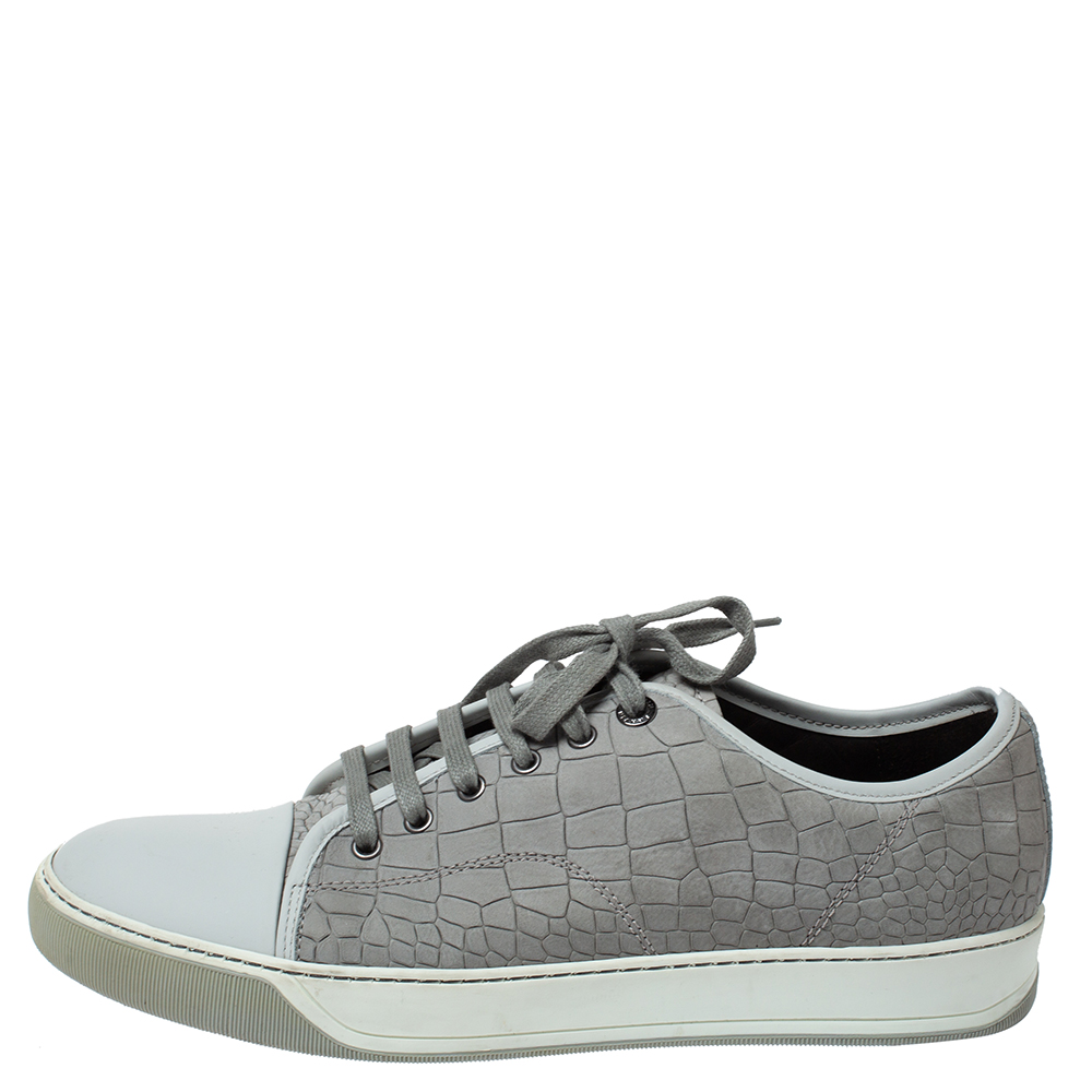 Lanvin Grey Crocodile Effect Leather Sneakers Size 40  - buy with discount