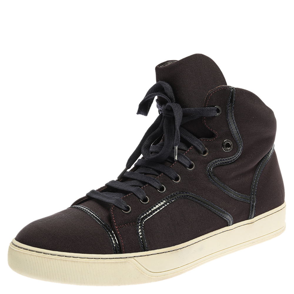 LANVIN BURGUNDY NYLON HIGH TOP SNEAKERS SIZE 43